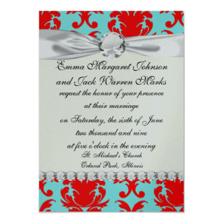 """red and aqua lovely formal damask 4.5"""" x 6.25"""" invitation card"""