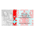 red and aqua lovely formal damask customized photo card