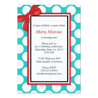 Red and Aqua Polka Dot Wedding Invitation