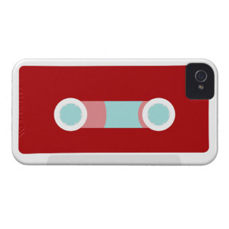 Red and Aqua Retro Cassette Tape iPhone 4 Cases