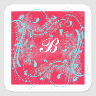 "Red and Aqua Swirls 1.5"" Monogrammed Sticker"
