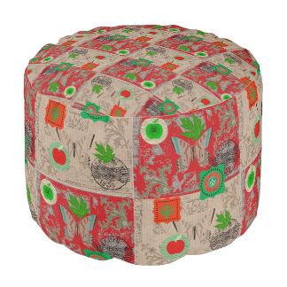 Red And Beige Butterfly Graphic Art Pouf