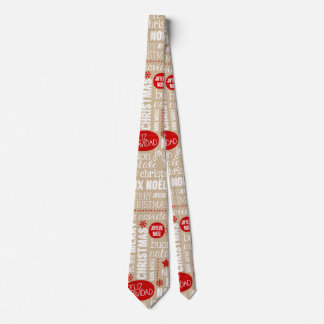Red and Beige Christmas Sayings Languages Tie