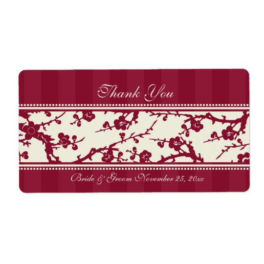 Red and Beige Floral Wedding Labels