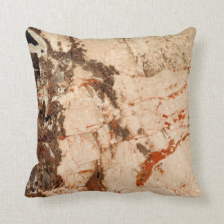 Red and Beige Marble Throw Pillow
