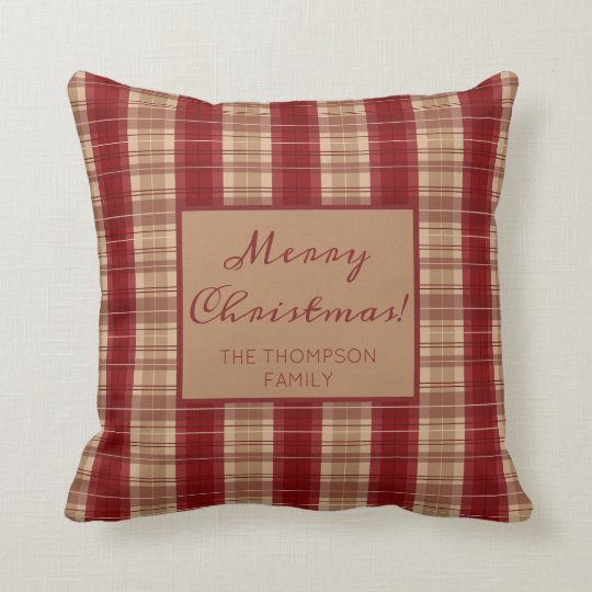 Red And Beige Plaid Pattern Custom Name Christmas Throw Pillow
