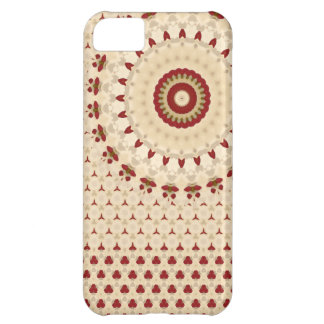 Red and Beige Rosetta pattern Case For iPhone 5C