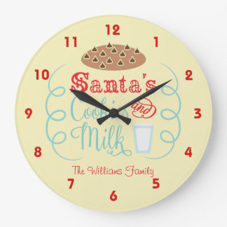 Red and Beige Santa Milk and Cookies Large Clock
