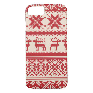 Red and Beige Ugly Christmas Sweater patterns iPhone 7 Case