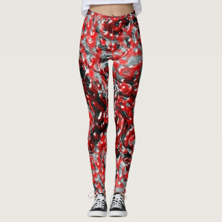 Red and Black Abstract Liquid Gore Leggings