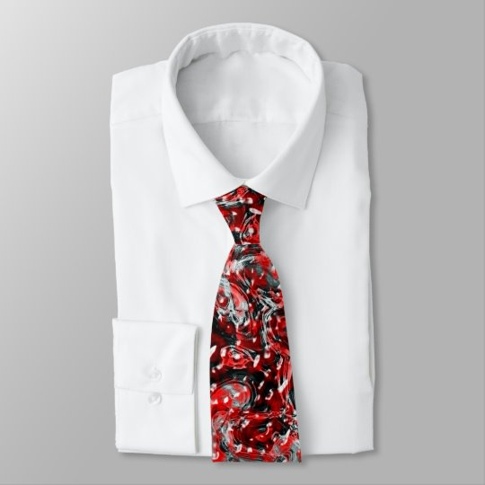 Red and Black Abstract Liquid Gore Pattern Tie