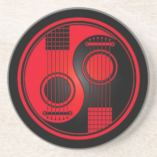 Red and Black Acoustic Guitars Yin Yang Coaster