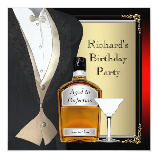 """Red and Black Aged to Perfection Birthday Party 5.25"""" Square Invitation Card"""