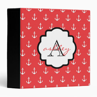 Red and Black Anchor Monogram Binder