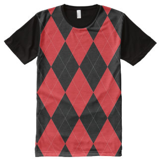 Red and Black Argyle Pattern All-Over-Print T-Shirt