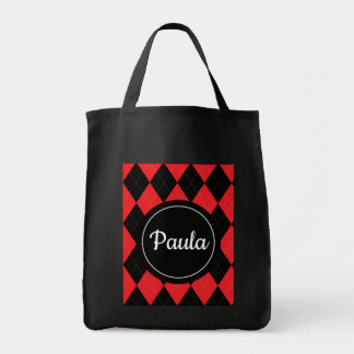 Red and Black Argyle Personalize Tote Bag