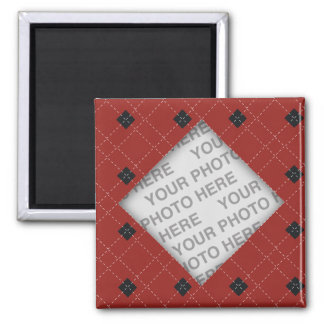 Red and Black Argyle Photo Square Magnet