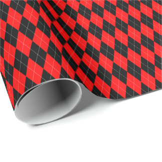 Red and Black Argyle Wrapping Paper