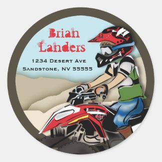 Red and Black ATV Kid Address Label Round Stickers