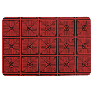 Red and Black Aztec Square Tribal Pattern Floor Mat