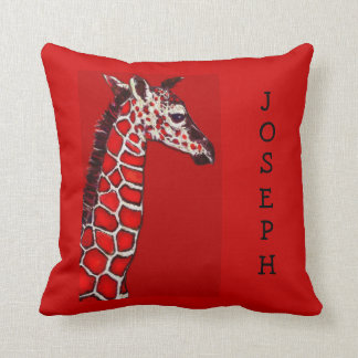 red and black baby giraffe throw pillow