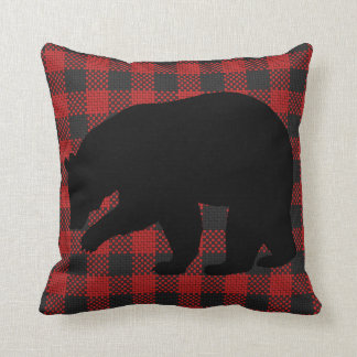 Red and Black Bear Pillow