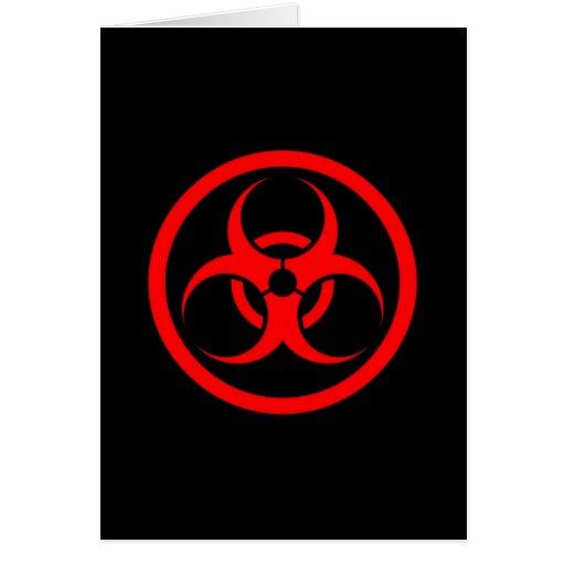 Red and Black Bio Hazard Circle Greeting Cards