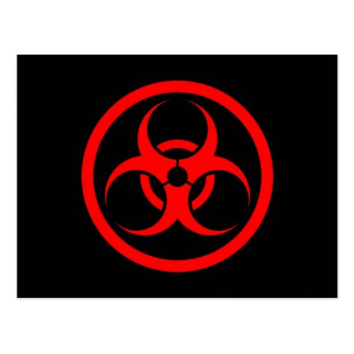 Red and Black Bio Hazard Circle Postcard