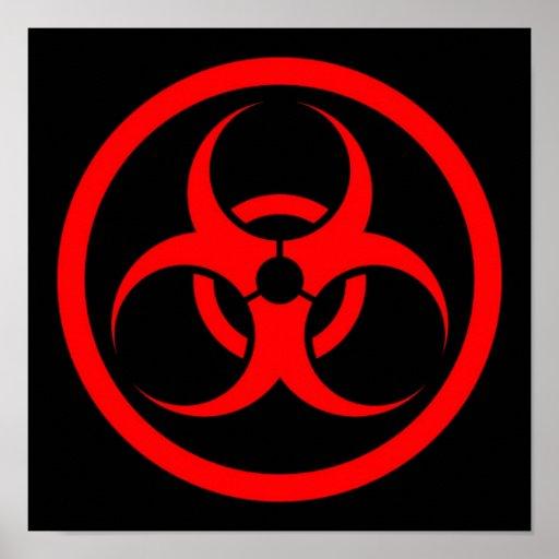 Red and Black Bio Hazard Circle Poster