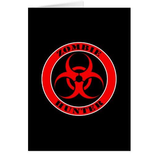 Red and Black Bio Hazard Zombie Hunter Greeting Card