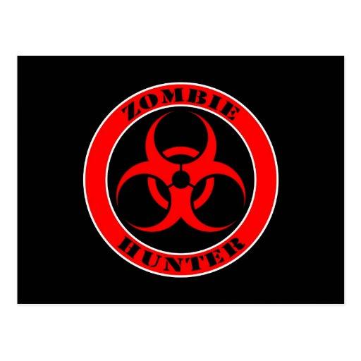Red and Black Bio Hazard Zombie Hunter Postcards