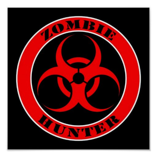 Red and Black Bio Hazard Zombie Hunter Poster