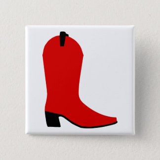 Red and Black Boot 2 Inch Square Button