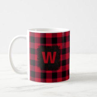 Red and Black Buffalo Check Monogram Coffee Mug