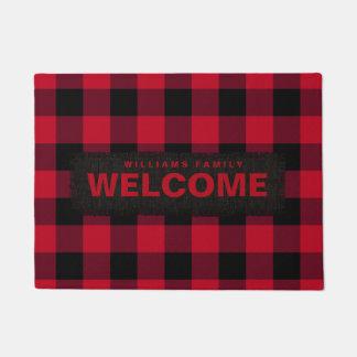Red and Black Buffalo Check Monogram Doormat