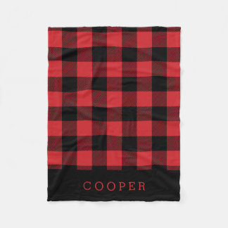 Red and Black Buffalo Check Monogram Fleece Blanket