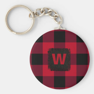 Red and Black Buffalo Check Monogram Keychain