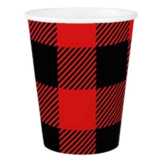 Red and Black Buffalo Plaid Christmas Party Cups