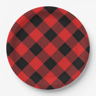 Red and Black Buffalo Plaid Christmas Party Plates