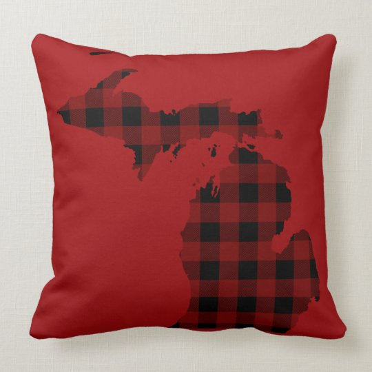 Red and Black Buffalo Plaid | Michigan Throw Pillow