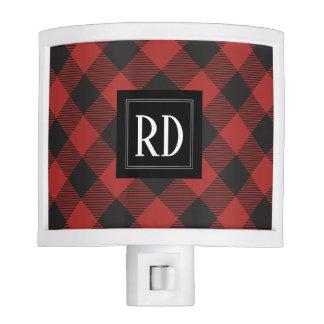 Red and Black Buffalo Plaid Monogram Nite Light