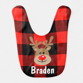 Red and Black Buffalo Plaid Reindeer Christmas Bib