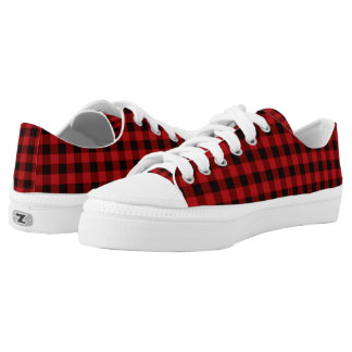 Red and Black Buffalo Plaid ZipZ Tennis Shoes