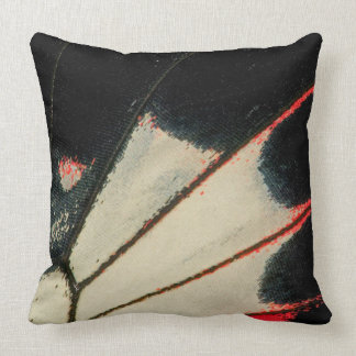 Red and black butterfly close-up throw pillow