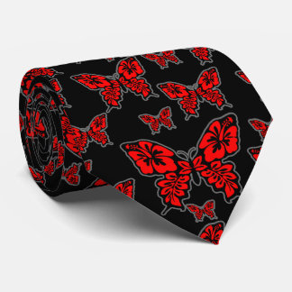 Red and Black Butterfly on Black Tie