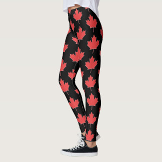 Red and Black Canadian Maple Leaf Leggings