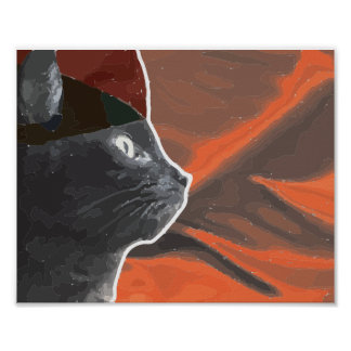 Red and Black Cat Poster