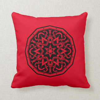 Red And Black Celtic Design Throw Pillow