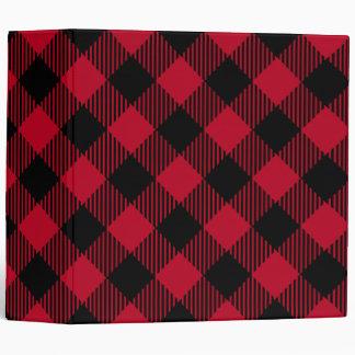 Red And Black Check Buffalo Plaid Pattern 3 Ring Binder