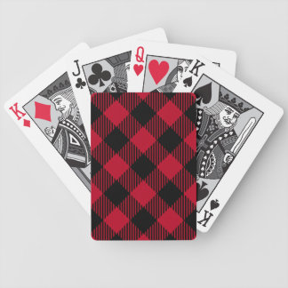 Red And Black Check Buffalo Plaid Pattern Bicycle Playing Cards
